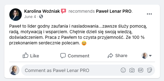 testymoniale 01 - Paweł Lenar Blog