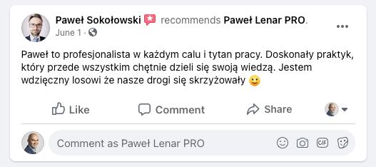 testymoniale 11 - Paweł Lenar Blog