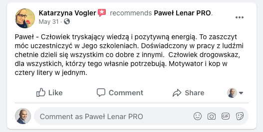 testymoniale 21 - Paweł Lenar Blog