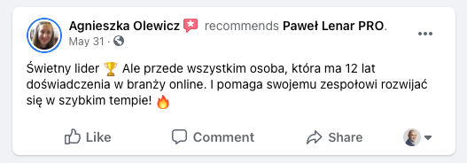testymoniale 23 - Paweł Lenar Blog