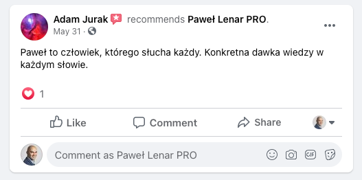 testymoniale 33 - Paweł Lenar Blog